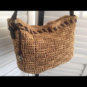 [Brighton] Woven Straw + Leather Brown + Tan Bag